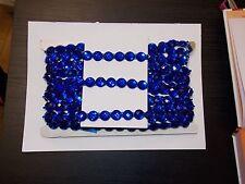 blue 16mm Jewel Sequin Indian wedding  cake dance costume ribbon mesh rhinestone