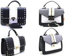 Ladies PU Leather Small Studded Cross body Bag Handbag Shoulder Party Clutch Bag