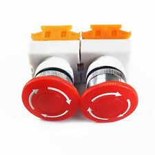 2pcs Emergency Stop Switch Red 600v 1 Nc 10a Contacts E Stop Twist Release Us