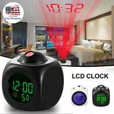 US Digital Alarm Clock Voice Talking LCD LED Wall/Ceiling Projection Temperature