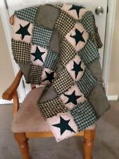 NEW Plaid Homespun PriMiTivE Rag Quilt Green Tan Stars Throw Country Farmhouse