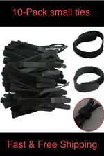 "10 VELCR Brand Ties Cable Cord Organizer Wraps Reusable Die Cut Straps 4"" Black"