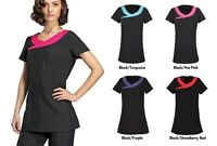 CROSS NECK BEAUTY TUNICS, SALON NAIL HAIRDRESSERS DENTIST UNIFORM GIRLS TUNIC
