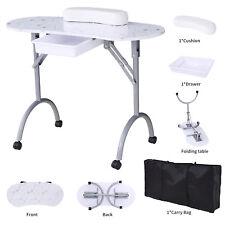 Folding Manicure Nail Table Station Desk Spa Beauty Salon Portable White