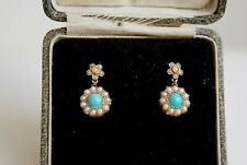 FINE ANTIQUE VICTORIAN 15 CT GOLD TURQUOISE & SPLIT PEARL CLUSTER EARRINGS CASED