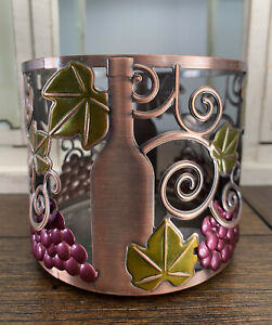NEW BATH & BODY WORKS CANDLE HOLDER SLEEVE WINE BOTTLE GRAPES