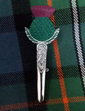New Scottish Thistle Hilt Kilt Pin Green ,Pink Enamel Chrome Finish/Pin Brooch