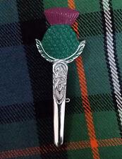New Scottish Thistle Hilt Kilt Pin Green ,Pink Enamel Chrome Finish/Pin Brooch