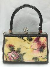 Debbie Brooks Black Leather Silver Handbag Evening Bag New WATERCOLOR FLOWER