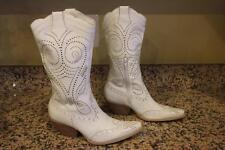 bcbg BCBGIRLS Women's White Leather Western Mid Calf Boots Size 5.5 (BOTA1300