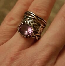 Brazilian Amethyst Oval Sterling Silver Ring, Or Paz