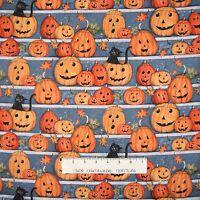 Halloween Fabric - Susan Winget Pumpkin Stars Stripe Gray Orange - Springs YARD