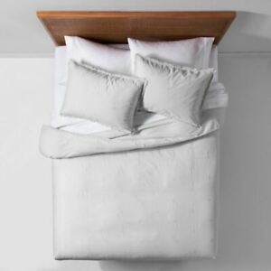 Opalhouse Gray Garment Washed Embroidered Duvet Cover Set, Full/Queen