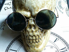 STEAMPUNK ROUND SUNGLASSES DARK LENSE WITH GOLD FRAME GOTHIC/WHITBY/VAMPIRE NEW