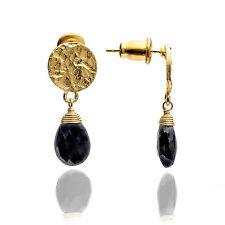 Azuni Jewellery Athena Princess Kate Gold GEMSTONE Drop Earrings Black Onyx