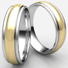6mm High Polished Round Edge Two Tone Gold Man Men's Women's Wedding Band Ring