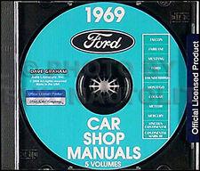 1969 Ford Repair Shop Manual CD Galaxie LTD Thunderbird Falcon Custom Tbird Car