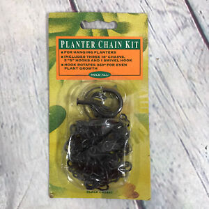 """Vintage 1993 Amertac Planter Chain Kit - 3 18"""" Chains and Hooks - Sealed Package"""