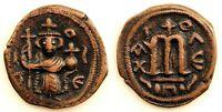 Imperio Bizantino- Constante II. Follis. 650-651 d.C. EBC-/XF- Cobre 4,9 g.