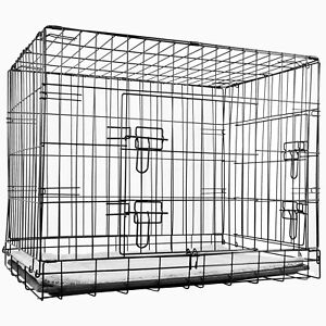Pet Cage with Soft Fleece Mat Folding 30 Inch Strong Metal Dog Cat Puppy Crate