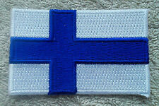 FINLAND FLAG PATCH Embroidered Badge Iron Sew on 3.8cm x 6cm Suomi Scandinavia