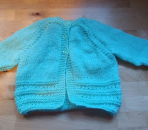 Handmade Knitted Baby Girl with striped arms Cardigan Newborn, gift specia