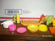 BARBIE SIZED DOLL HOUSE KITCHEN FOOD ACCESSORIES CUPS PLATES SKILLETS FRUIT LOT