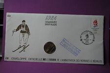 FRANCE LETTRE PREMIER JOUR JEUX OLYMPIQUES D'HIVER 1990 MONNAIE DE PARIS