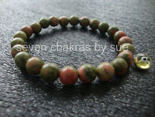 Feng Shui - 8mm Unakite + Yellow Sterling Silver Evil Eye