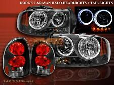 98-03 Dodge Durango Headlights Twin Halo LED Black + Tail Lights Black 1998-2003