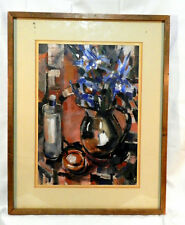 """1950's Silver Pitcher by Reba """"Grace"""" Parson(1908-2013) Acrylic on paper signed"""