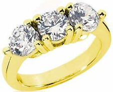 2.25 ct 3 Stone Brilliant Round Diamond Engagement Wedding 18k Yellow Gold Ring