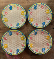 Temptations Old World Basketweave Easter Egg Hunt Salad/Dessert Plates Set of 4
