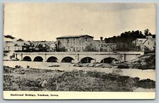 Nashua Iowa~Concrete Arch Railroad Bridge~Town Skyline~c1912 Sepia Postcard