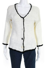 Great White Tee Company Womens Cardigan Sweater White Black Knit Size 4