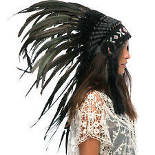 Feather Headdress- Native American Indian Style -ADJUSTABLE- Super Black Rooster