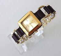 Esprit Damen Uhr Puro braun gold Leder Edelstahl Kette ES106062004