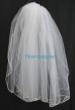Bridal veil Communion Pearls Wedding White tulle netting fingertip comb veil S M