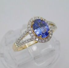 14K Yellow Gold 0.90 ct Tanzanite & 1/4 cttw Diamond Halo Ring Size 7