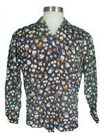 Ernest Le Gamin Vtg 80s Mens Black Disney Characters Rayon Loop Collar Shirt M