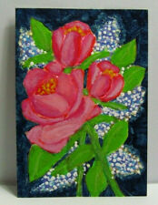 ACEO Original Miniature Painting, ROSES, Acrylic, Watercolor, 3.5x2.5 in