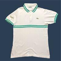 Mens Vintage Lacoste Polo Shirt Medium/5 White/Green Short Sleeve Cotton