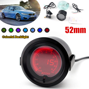 12V 52mm Racing Turbine Pressure Gauge Automobile LCD Digital Chromatic Display