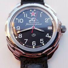VOSTOK military Komandirskie Russian men's watch mechanical leather strap 211306