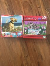 2 PuzzleBug 100 Piece & 500 Puzzles, New; Golden Receivers/Kittens In the Garden