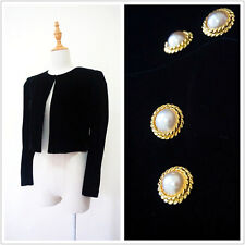 Black Velvet pearl gold buttons formal women evening short jacket S/M Y610420