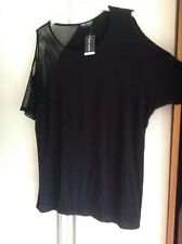 Ladies Black Mesh Fish Net Cold Shoulder Top Short Sleeved Size 12,14,16 NWT