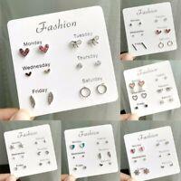 6Pairs/Set Fashion Korean Week Earrings Crystal Rhinestone Ear Stud Women Gift