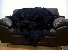 Luxury Real Black Rabbit Throw Blanket