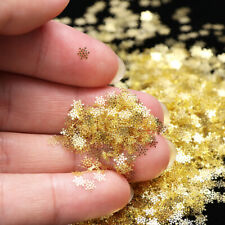 Hb- 90Pcs Christmas Golden Snowflake Nail Art Sequins Ultra-thin Manicure Decor